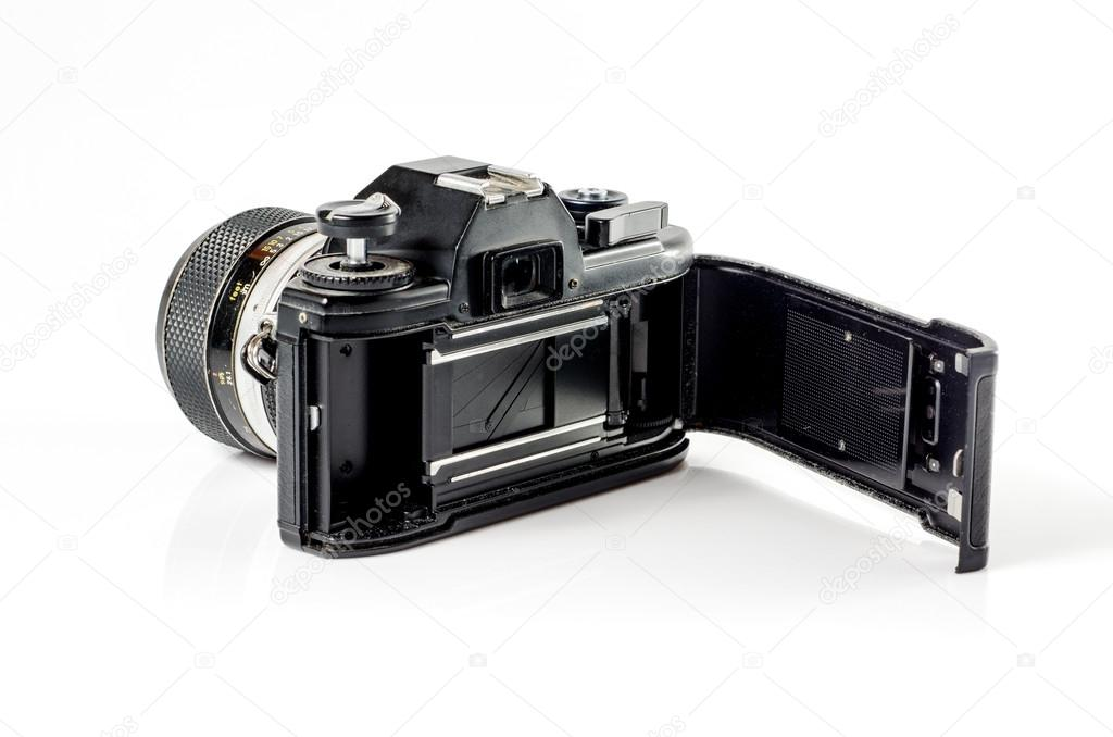 rear-view  of a film photo camera  isolated on white :Clipping path included