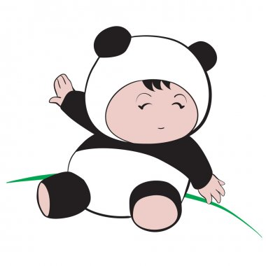 Baby in Panda Costume  : done in a hand-drawn vector illustratio