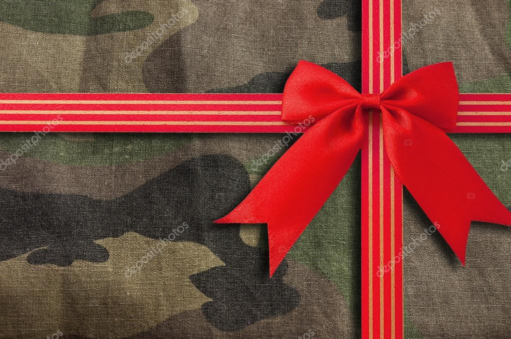 Camouflage-military texture with Red Bow