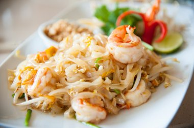Thailand s national dishes, stir-fried rice noodles with egg, vegetable and shrimp Pad Thai