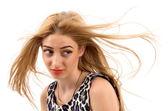 krásná žena s dlouhé rovné blond vlasy. módní model pos