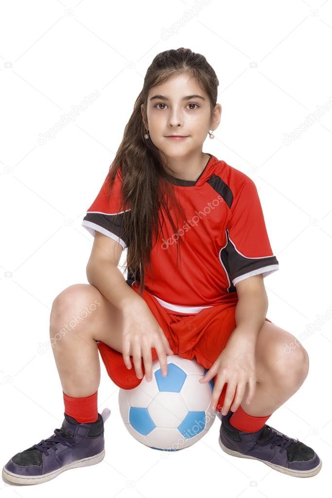 Madchen Im Sitzen Auf Einem Fussball Komplette Fussball Outfit