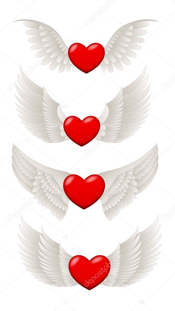 Heart with Wings Vectors