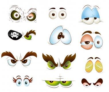 Creative Abstract Conceptual Design Art of Cartoon Eyes Vectors stock vector