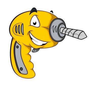 Drill Machine Mascot Vector