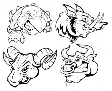 Angry Tattoo Mascots Vector Collection