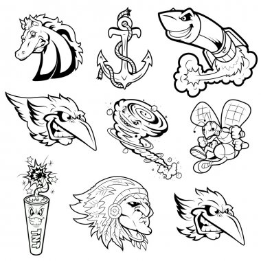 Various Mascot Vector Characters Tattoo