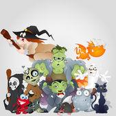 Fotografia famiglia di mostri di Halloween - diavolo, gatto, strega e altro ancora