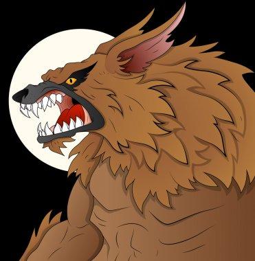 Classic Werewolf Vector Illustration on Full Moon Night