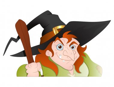 Cunning old Witch Vector Illustration
