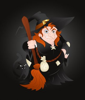 Fat Witch Woman Halloween Vector Illustration