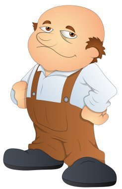 Fat Bald Man - Cartoon Character- Vector Illustration