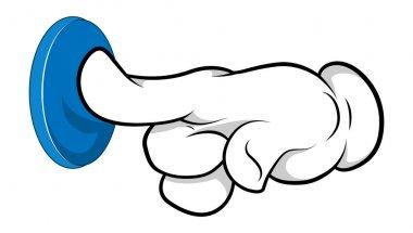 Cartoon Hand - Doorbell Pushing - Vector Illustration
