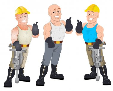 Under Construction Guys - Vector Character Illustration