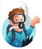 Zeichentrickfigur Taucher