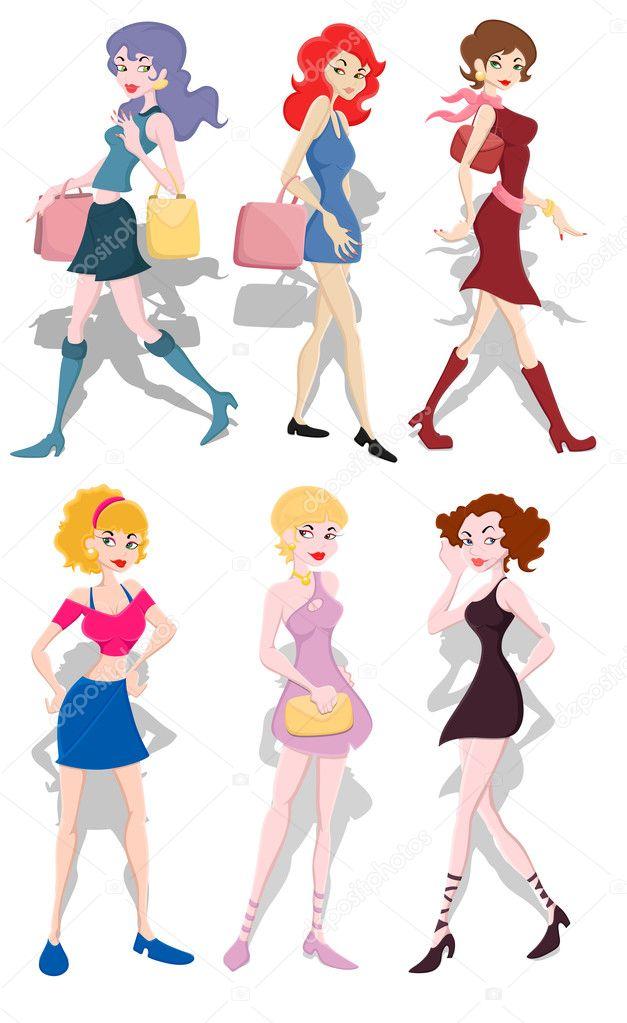 Arte astratta concettuale artistico creativo della collezione di ragazze  alla moda — Vettoriali di baavli cc3370dfe03