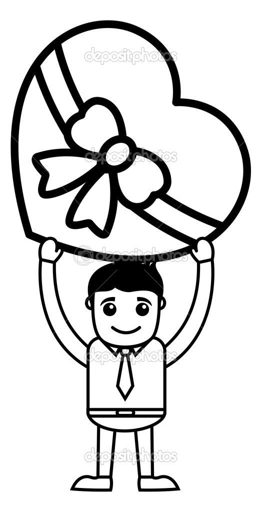 Holding eine herzförmige Geschenkbox — Stockvektor © baavli #24396339