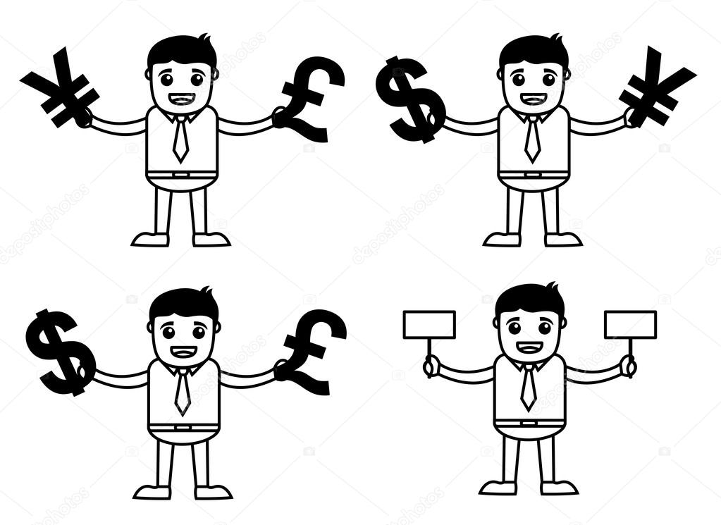 Set Of Cartoon Office Worker In Various Currency Poses Stock