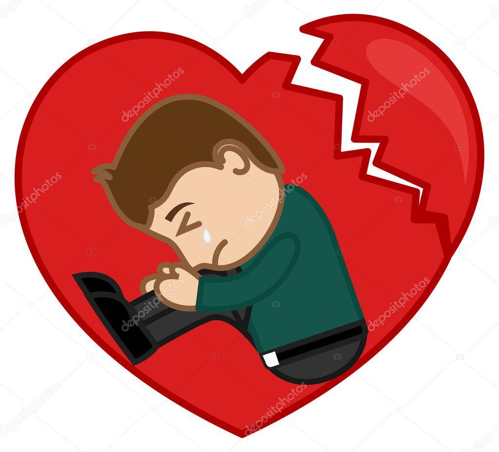 Homme Triste Pleurer Dans Un Cœur Brisé Image Vectorielle Baavli