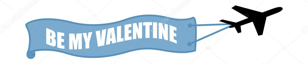 Be My Valentine Plane Banner Vector Illustration