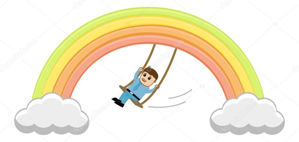 Man Swinging on Rainbow Vector