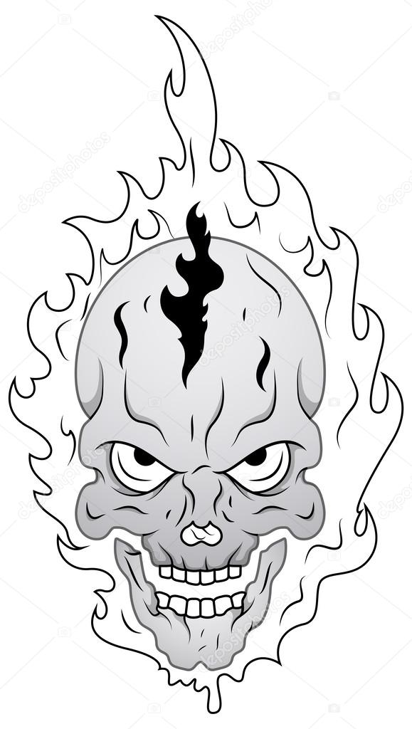 Imágenes: calaveras en llamas para colorear | diseño de tatuaje de ...