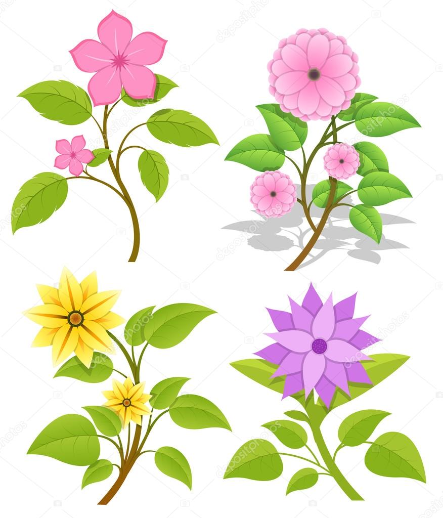 Set of Decorative Flowers