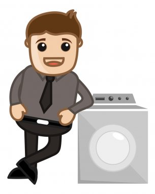 Man Standing with Washing Machine - Vector Illustration