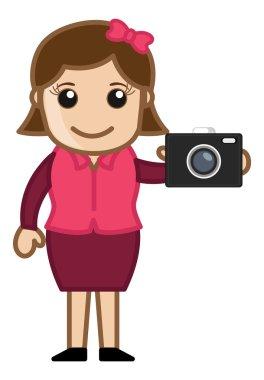 Digital Camera - Office Character - Vector Illustration