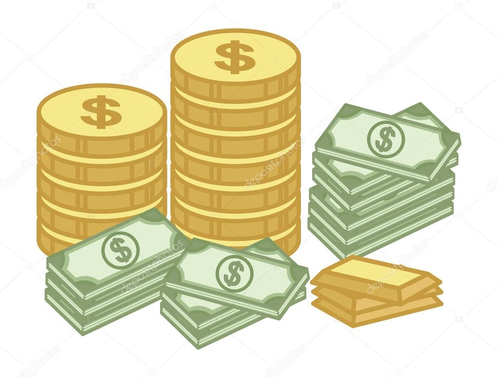 cash and gold coin finance money treasure cartoon
