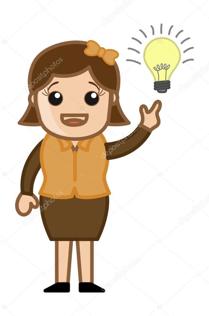 femme avec ampoule id e dessin anim bureau vector. Black Bedroom Furniture Sets. Home Design Ideas