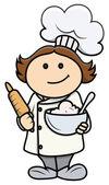 Fotografia simpatico cartone animato ragazza in costume da chef - illustrazione fumetto vettoriale