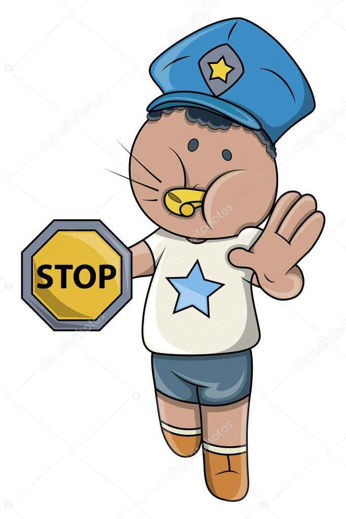 Kid Playing Traffic Police Game - Vector Cartoon Illustration ...
