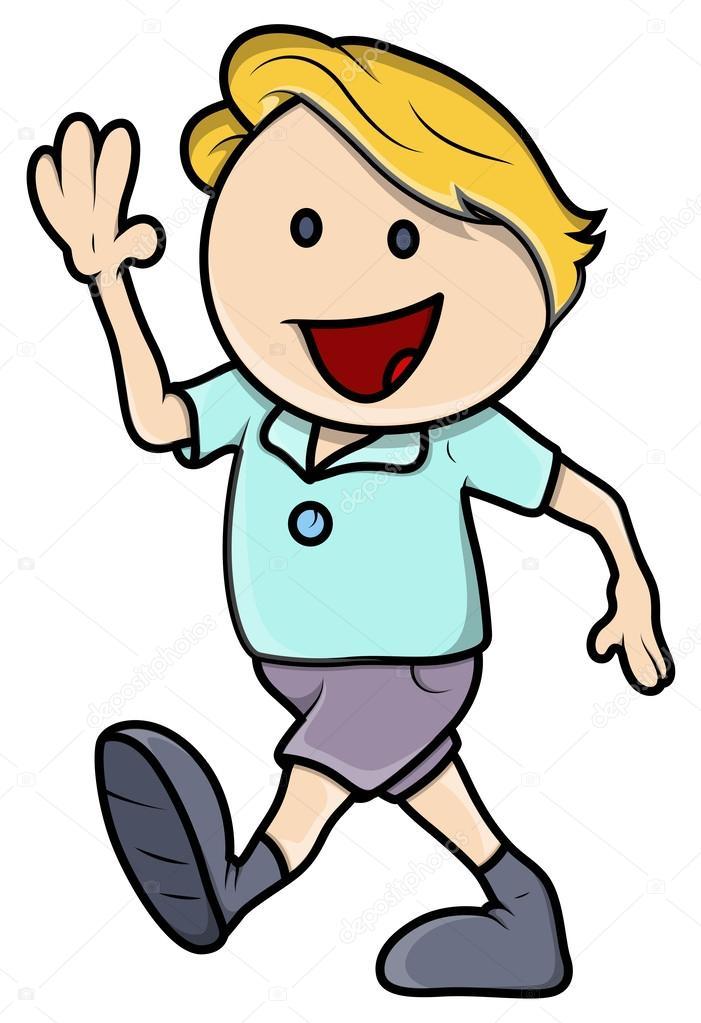 happy boy walking vector cartoon illustration stock vector rh depositphotos com cartoon person walking away cartoon person talking