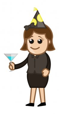 Drawing Art of Cartoon Young Woman Holding Serving Drink in Party Vector Illustration stock vector