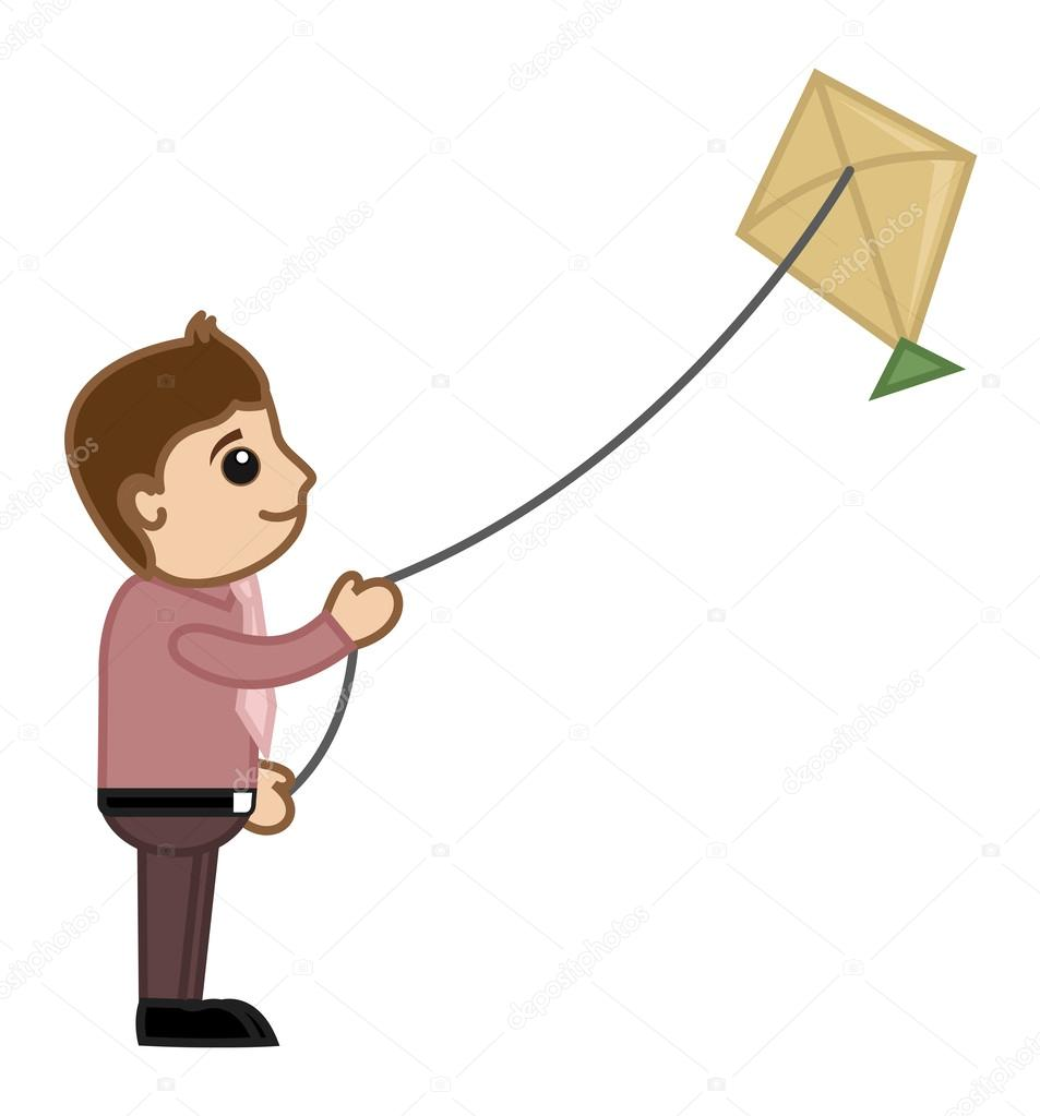 Man Flying Kite - Cartoon Business Characters