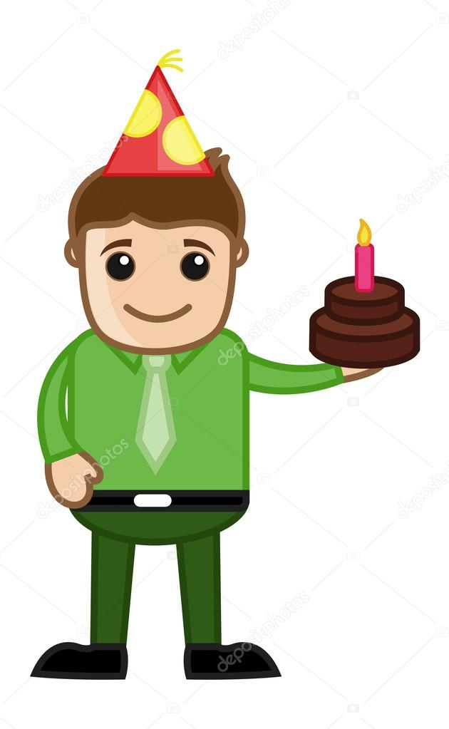Uomo con torta di compleanno cartone animato affari