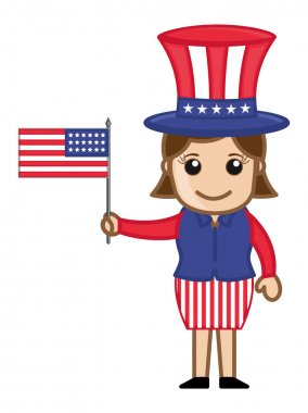 Woman Wearing 4th of July Costume as Uncle Sam - Cartoon Business Characters