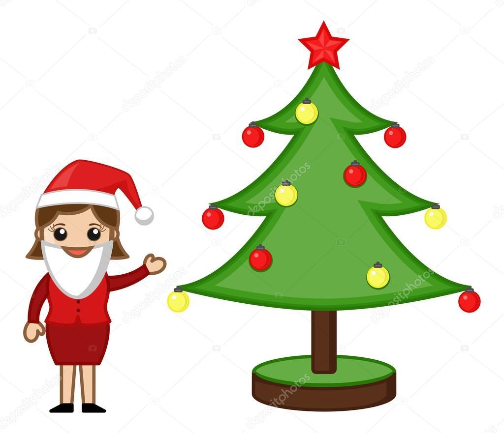female santa presenting christmas tree cartoon business