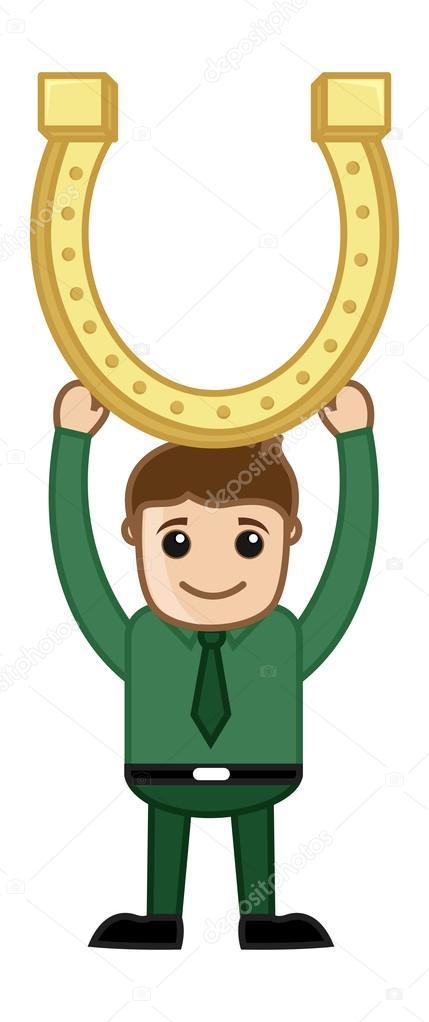 Uomo con ferro di cavallo dorato cartoni animati di affari
