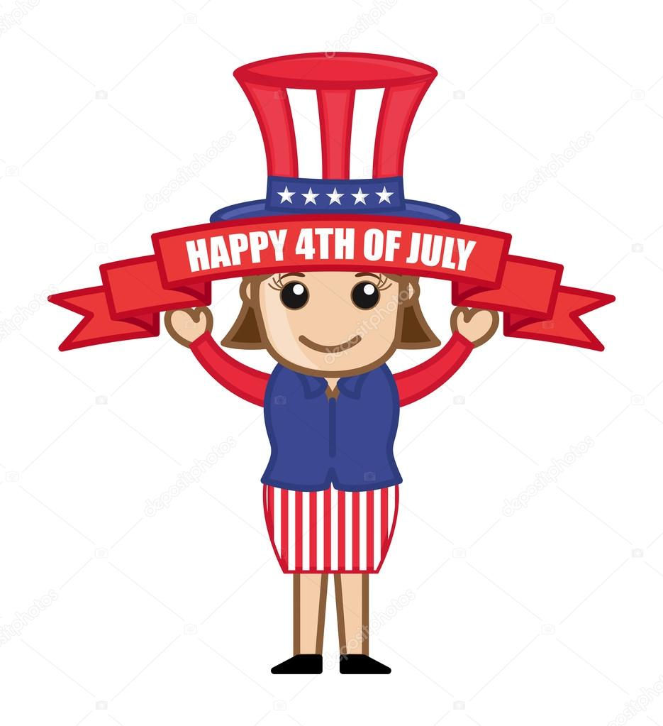 Happy 4th Of July   Cartoon Business Characters U2014 Stock Vector