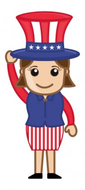 Cute Female Uncle Sam Character - Business Cartoon Characters