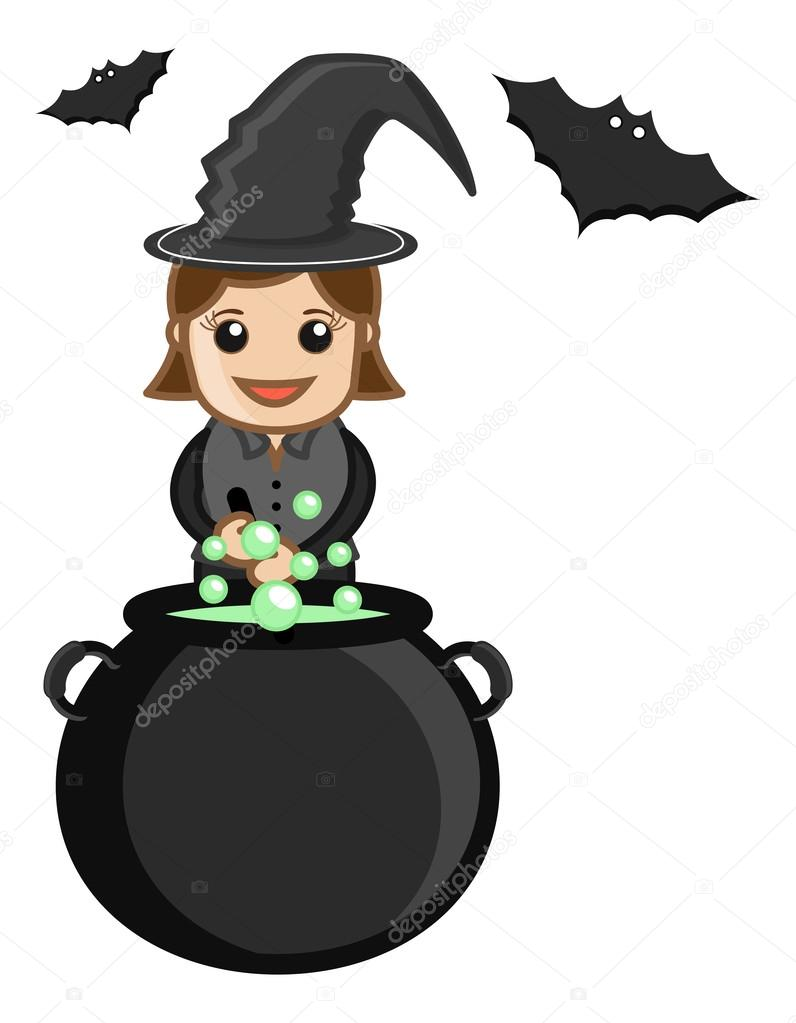 drawing art of cute cartoon halloween witch character cooking on occasion vector illustration vector by baavli - Halloween Witch Cartoon