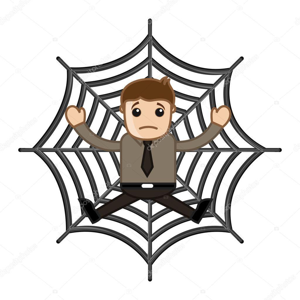 man stuck in spider web business cartoon characters u2014 stock