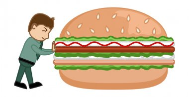 Say No to Junk Food - Cartoon Business Vector Character