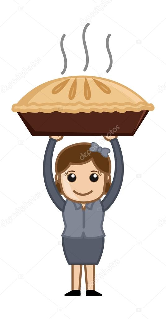 Femme heureuse pr par tarte aux pommes personnage de - Dessin tarte aux pommes ...
