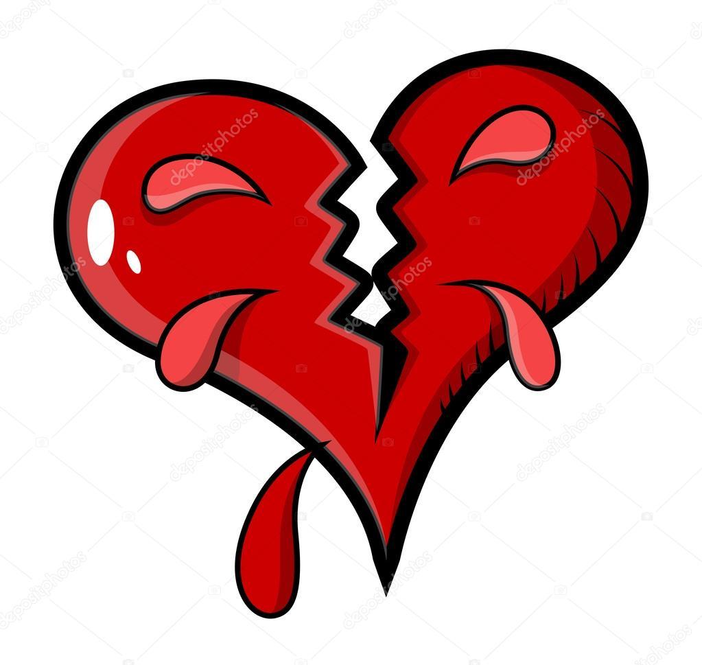 Vector Corazon Herido Dibujo Corazón Roto Ilustración Vectorial