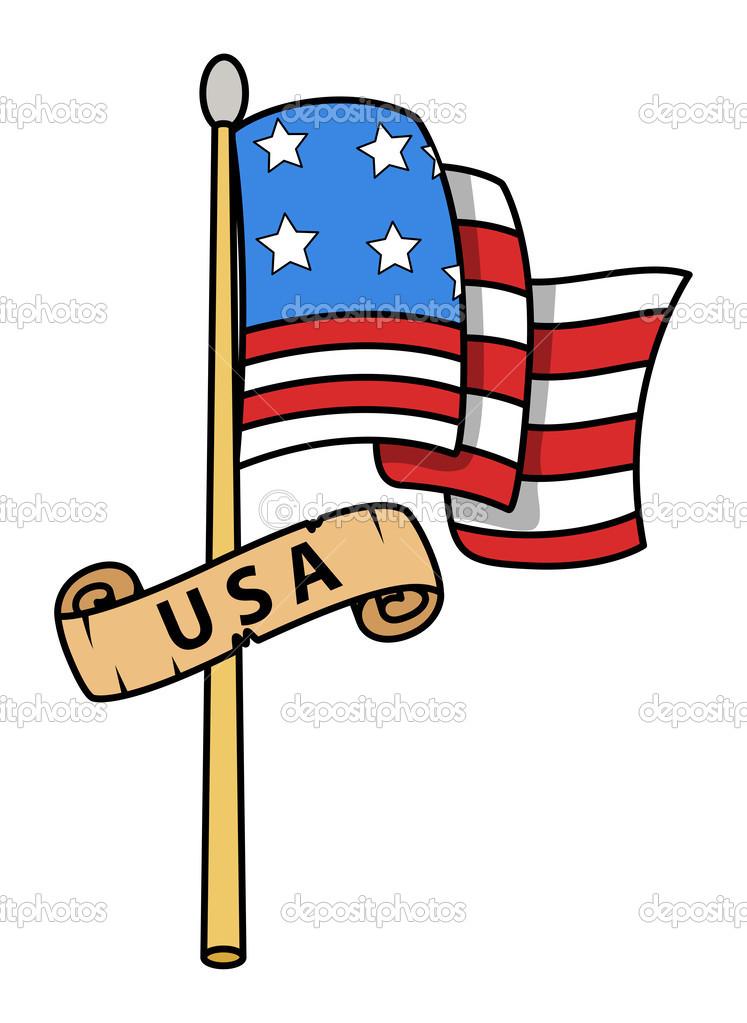 Los Eeuu Bandera Dibujos Animados Ilustración Vectorial