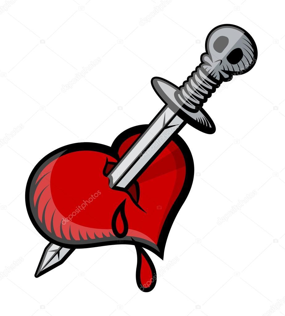 Vector Corazon Con Espada Espada En Tatuaje De Corazón