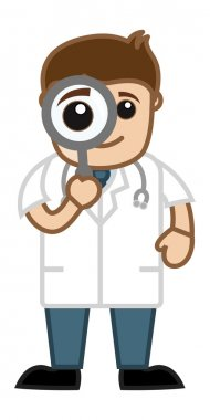 Seeing Through Magnifying Glass - Doctor & Medical Character Concept